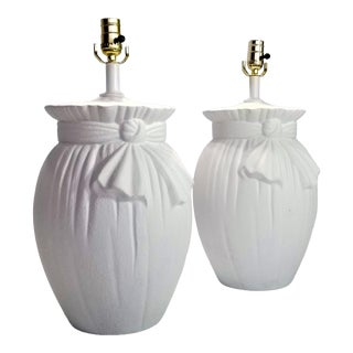 Solid Plaster Drapery Lamps Inspired by John Dickinson - a Pair For Sale