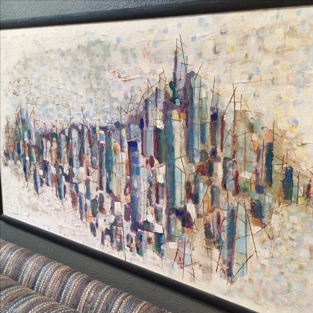 Mid-Century Abstract Cityscape Painting - Image 4 of 9