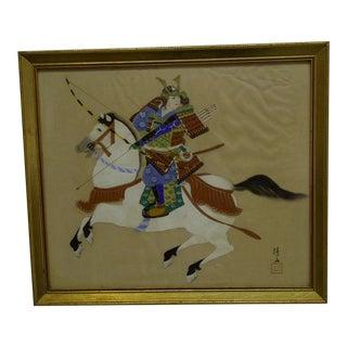"Vintage ""The Samurai"" Japanese Painting on Silk For Sale"
