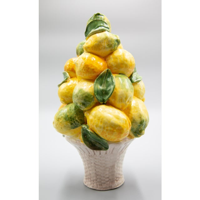 Lovely vintage Italian majolica lemons topiary centerpiece. Brighten up your kitchen or dining room with this beautiful...