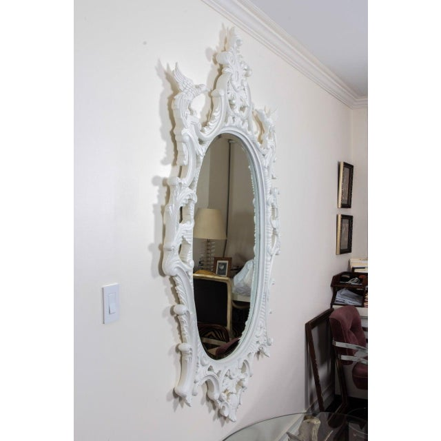 White Large Chinese Chippendale Style Oval Painted Mirror For Sale - Image 8 of 9