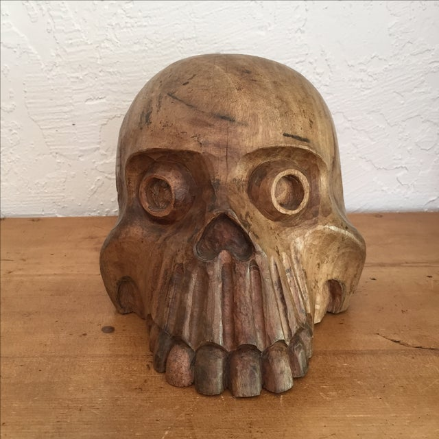 Vintage Paper Mache Mold Wood Skull - Image 2 of 8