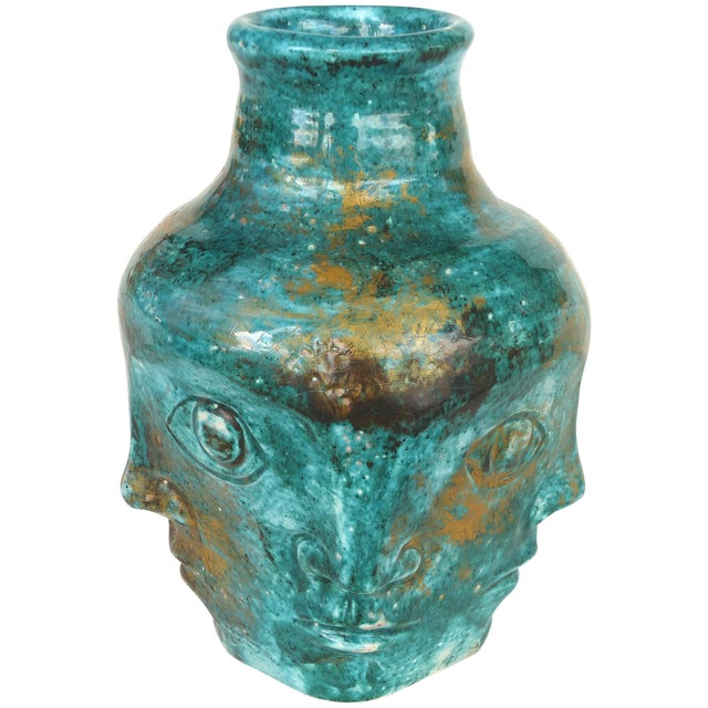 Edouard Cazaux French Mid-Century Ceramic Vase With Faces For Sale