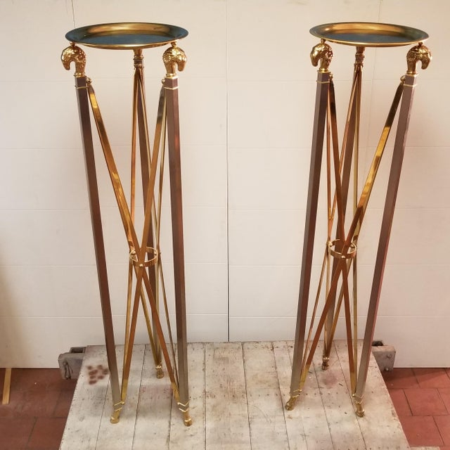 Stunning Pair of Hollywood Regency Ram's Head Maison Jansen Planter Stand Pedestals with two removable brass trays....