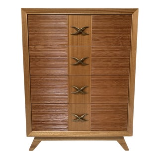 1960s Brown Saltman Mid-Century 4-Drawer Dresser/Highboy For Sale