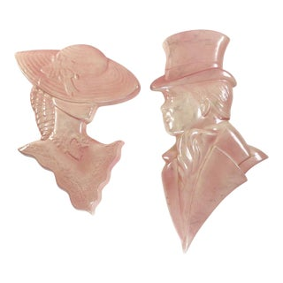 Vintage Pink Man and Woman Bust Wall Decor - a Pair For Sale
