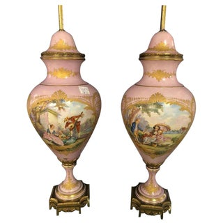Pair of French Sevres Marked Monumental Pink Lidded Urn Table Lamps Signed For Sale