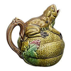 Antique Majolica Frog on a Melon Pitcher For Sale