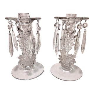 Vintage Glass/Crystal Candle Holders With Prisms - a Pair For Sale