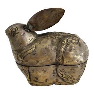 Midcentury Asian Brass Rabbit Lidded Box For Sale