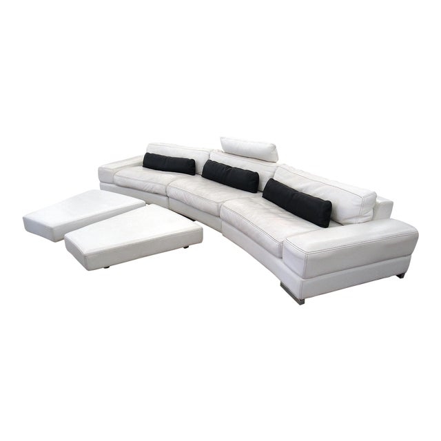 2007 Modern Roche Bobois by Polaris White Leather Modular 5 Pc. Sectional Sofa For Sale