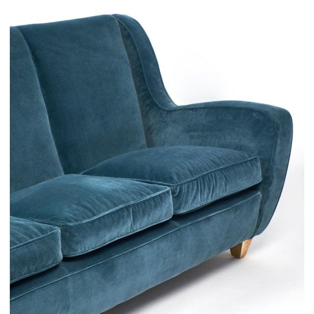 Brass Mid-Century Italian Poltrona Frau Velvet Sofa For Sale - Image 7 of 10