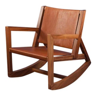 Modern Rocking Chair in Parota Solid Wood and Tan Genuine Leather For Sale