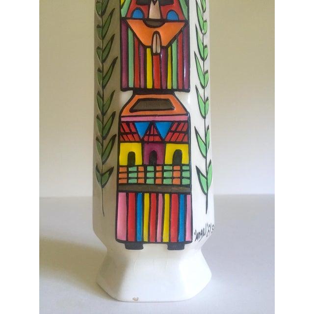 Vintage Mid Century Modern El Salavdor Rare Art Pottery Hand Painted Signed Angel Vase For Sale In Kansas City - Image 6 of 13