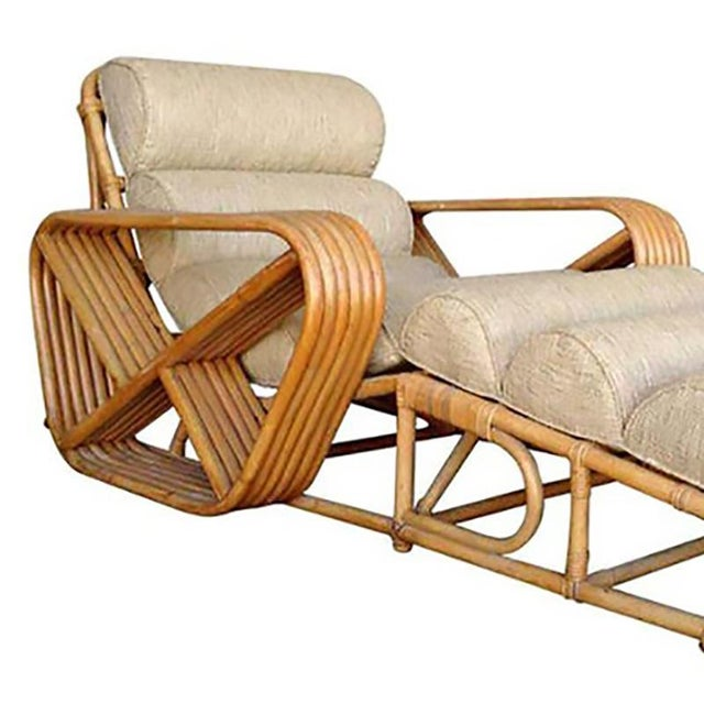 Rare Rattan chaise lounge chairs with Paul Frankl six-strand square pretzel arms. Professionally restored. New custom...