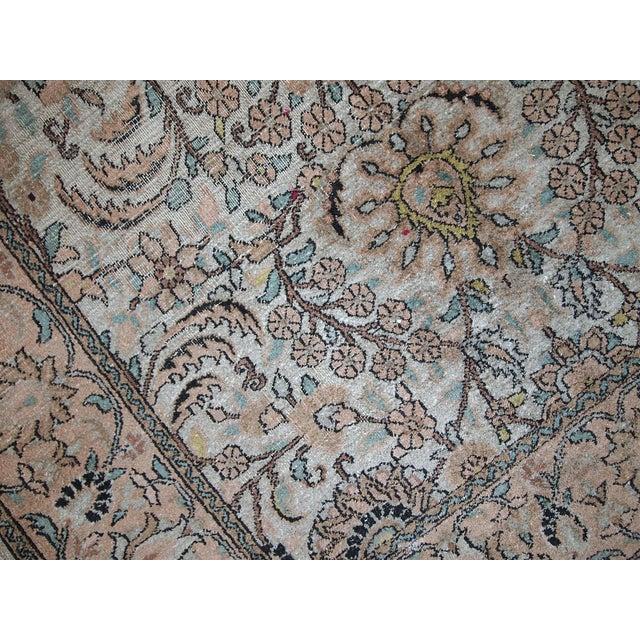 Silk Vintage Silk Indian Indo-Tabriz Rug - 3′2″ × 5′3″ For Sale - Image 7 of 10