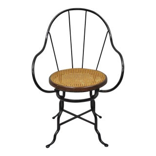 Antique Thonet Attr. Industrial Wrought Iron Round Cane Bentwood Seat Arm Chair For Sale