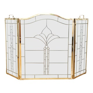 Hollywood Regency Brass Leaded Glass Folding Fireplace Screen For Sale