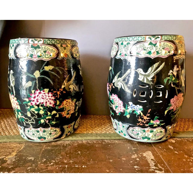Black 20th Century Chinese Famille Noire Garden Seats - a Pair For Sale - Image 8 of 8