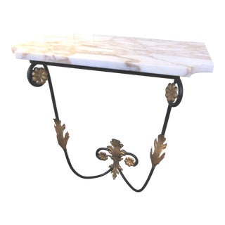 Italian Style Wall-Mount Marble Top Shelf For Sale