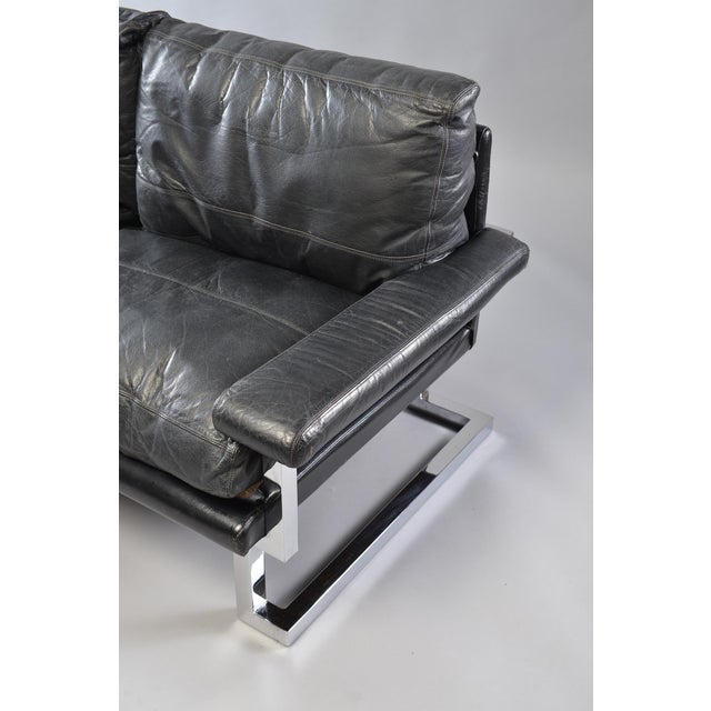 Black Leather and Chrome Sofa by Tim Bates for Pieff & Co For Sale - Image 4 of 8