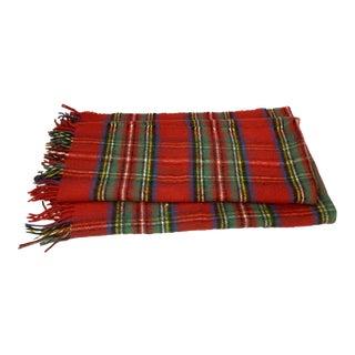 Vintage Mixed Fiber Plaid Blanket