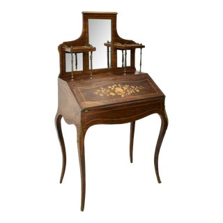 Early 1900s French Louis XV Style Floral Marquetry Secretary Desk For Sale