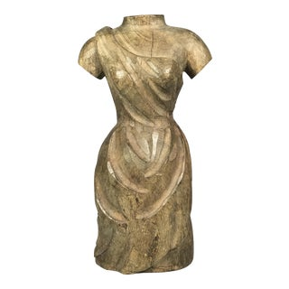 Vintage Carved Wood Dress Form For Sale