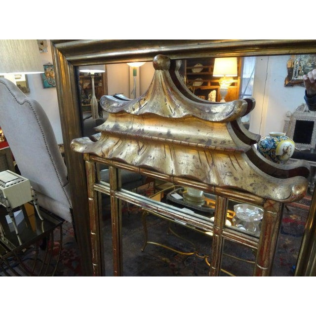 1940s Italian Giltwood Chinese Chippendale Style or Chinoiserie Pagoda Mirror For Sale - Image 5 of 12
