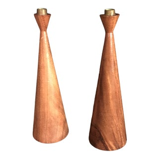 1960s Mid-Century Mod Teakwood Tall Candlesticks - a Pair For Sale