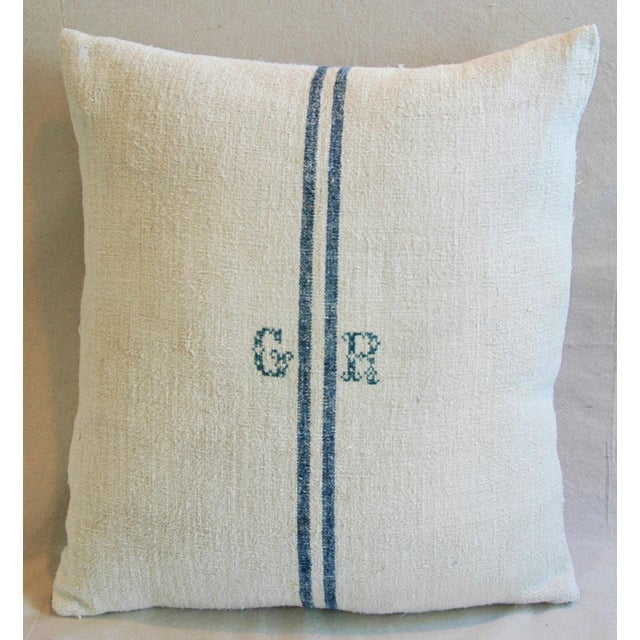 Blue Stripe French Grain Sack Down & Feather Pillow - Image 3 of 6