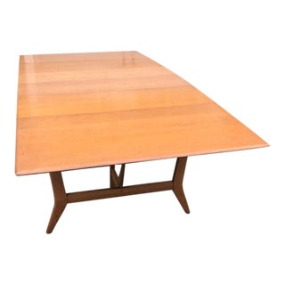 Mid Century Modern Heywood- Wakefield Harmonic Drop Leaf Extension Dining Table For Sale