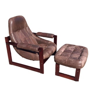 1970s Percival Lafer Rosewood and Weathered Patina Leather Scoop Chair With Footstool For Sale