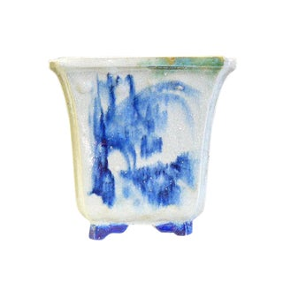 Chinese Handmade Ceramic Blue Graphic Planter For Sale