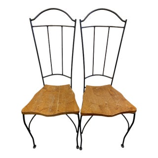 Pair of Wrought Iron and Wood Chairs For Sale