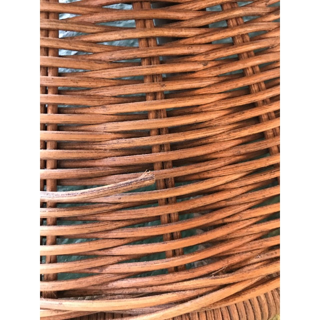 Wicker Vintage Wicker Egg Chair and Ottoman For Sale - Image 7 of 12