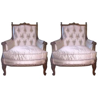 1900s Vintage Louis XVI Style Giltwood Bergere Chairs- A Pair For Sale