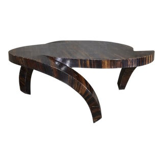 "1990s Contemporary ""Hurricane"" Banana Bark Finish Coffee Table For Sale"