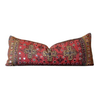 Large Antique Red Reshmi Sutra Lumbar Pillow For Sale