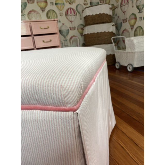 2020s Custom Pink & White Stripe Chair & Ottoman For Sale - Image 5 of 7