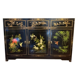 Mid 20th Century Asian Black Lacquer Hand-Painted Buffet Preview