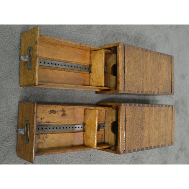 Antique Oak Pair of Desktop Library Card File Cabinets For Sale - Image 10 of 12