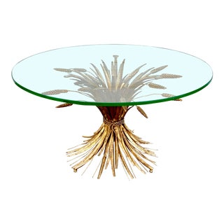 1960s Hollywood Regency Gilt Wheat Sheaf Coffee Table For Sale