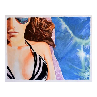 """Sunbather"" Large Geoff Greene Painting in Acrylic For Sale"