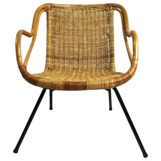 Mid Century Bamboo Wicker and Metal Chair For Sale
