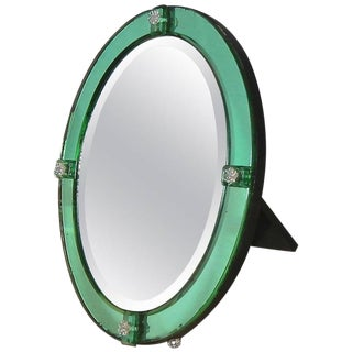 1930s Art Deco Emerald Green Table Mirror For Sale