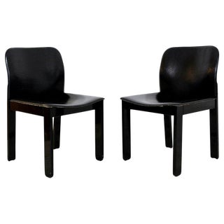 Mid-Century Modern Pair of Black Leather & Wood B&b Italia Side Chairs, 1970s For Sale