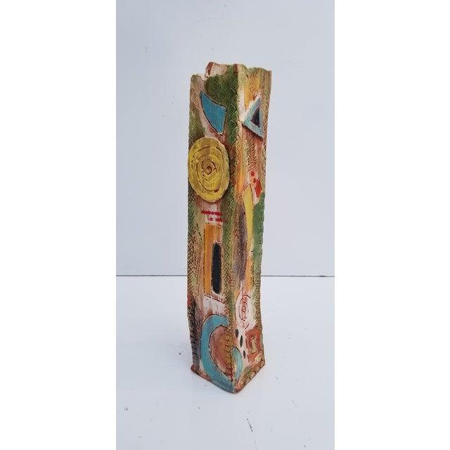 Vintage art hand-painted/cubist shape/art carved pottery/ brutalist texture, sculptural studio pottery vase. Signed on the...
