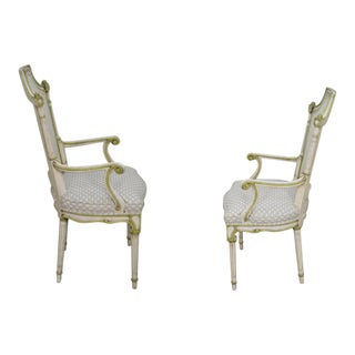 Karges Vintage Set of 6 French Louis XVI Style Painted Cane Back Dining Chairs
