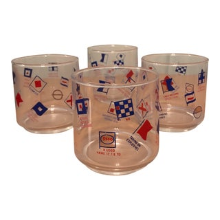 Vintage Esso Nautical Flags Maritime Tumbler Glasses - Set of 4